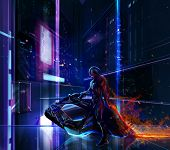 Sci-fi neon warrior on bike