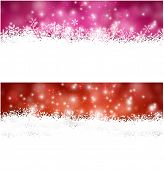 Winter background. Horizontal banners. Defocused lights. Christmas. Vector.