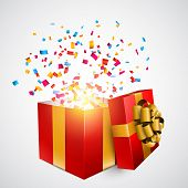 Opened 3d realistic red gift box with golden bow and confetti. Vector illustration.