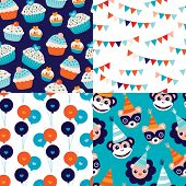 Seamless kids happy birthday cupcake garland happy animals and balloons wrapping paper and fabric ba
