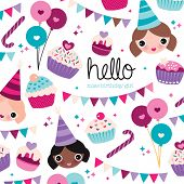 Happy birthday girl cupcake garland happy animals and balloons illustration postcard background patt