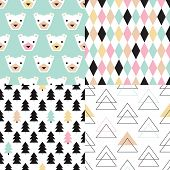 Seamless polar bears and christmas trees geometric wrapping paper collection happy pastel holidays background pattern in vector
