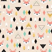 Seamless geometric pastel holidays theme fox forest and triangle christmas tree background pattern in vector