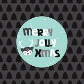 Merry jolly christmas fun geometric typography reindeer tree postcard cover design in vector
