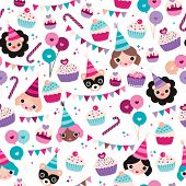Seamless kids happy birthday girl cupcake garland happy animals and balloons wrapping paper background pattern in vector
