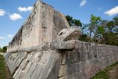 Mayan Snake Head Sculpture On Ball Court