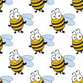 Cartoon smiling bee seamless pattern