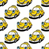 Cartoon taxi car seamless pattern