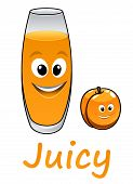 Cartoon peach or apricot with juice