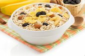 bowl of cereals muesli isolated on white background