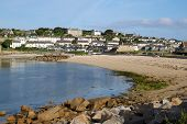 image of hughes  - Porthcressa beach and Hugh Town St - JPG