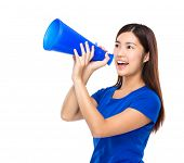 Woman shout with loudspeaker