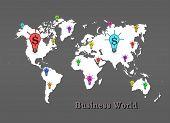 Many Dollar Icon On Map World