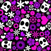 Skull And Flora Pattern Background.