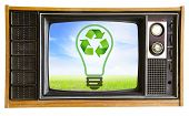 Vintage Television With Blue Sky And Recycle Sign, Clipping Path.