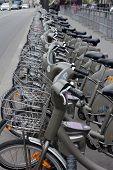PARIS, FRANCE - NOVEMBER 07, 2012: Velib bucycles in the row on November 07, 2012 in Paris, France.