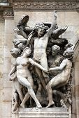 PARIS, FRANCE - NOVEMBER 08, 2012: Architectural details of Opera National de Paris: Dance Facade sculpture by Carpeaux.Grand Opera is famous neo-baroque building in Paris. UNESCO World Heritage Site.