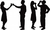 man and woman drinking silhouette vector
