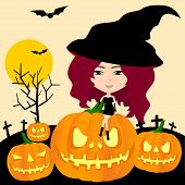 Witch Of Halloween In Pumpkin Graveyard Background (vector)