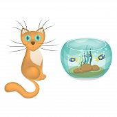 Vector illustration of cartoon cat and aquarium with fishes