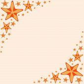 Decorative frame with orange cartoon starfishes