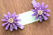 Hairpins Of Purple Flower And Note Paper.