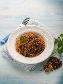 spaghetti with tomato nuts and dried grape, hungarian recipe