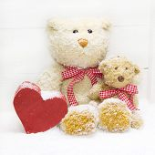 Teddy Bear Family - Mother With Child And Red Heart Of Wood For Christmas Decoration