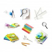 Back to school supplies collection. Isolated on white background