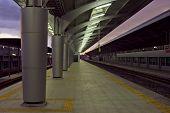 Empty Railway Station On Twilight