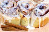Three Fresh Baked Cinnamon Buns