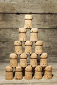A Lot Of Corks Building A Pyramid