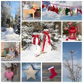 Outdoor Christmas Decoration In Country Style In Blue And Red For A Greeting Card