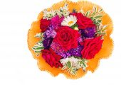 Bunch of flowers: roses, asters, camomiles on a white background