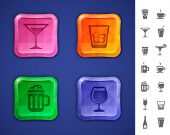 Bar icon set. Drinks and beverages icons for bar or pub website or app. Vector illustration