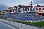 MARMARIS, TURKEY - MAY 15, 2014: Musical fountain on the embankment in evening. Marmaris population