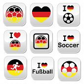 I love German football, soccer buttons set