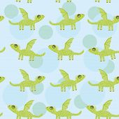Seamless pattern with funny cute dragon on a blue background. Ve