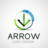 Vector arrow company logo, abstract business symbol - concept direction, modern line design