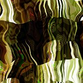 art abstract colorful chaotic waves seamless pattern in klimt style; background with green, black, w