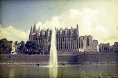 Vintage photo of Palma de Mallorca Cathedral, Balearic Islands, Spain.