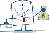 Winking Businessman With Briefcase Holding A Money Bag Monochrome