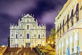 Macau, China at the Ruins of St. Paul Cathedral.
