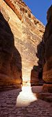 Canyon (Al-Siq) to the ancient city of Petra in Jordan