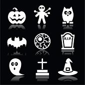 Scary white icons set for Halloween party isolated on black background