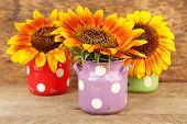 Beautiful sunflowers in cans on table on wooden background