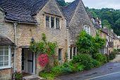 WILTSHIRE, CHIPPENHAM, UK - AUGUST 9, 2014: Street in Castle Combe village