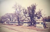 Vintage Picture Of American House Trailers Estate, Usa Countryside.