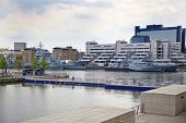LONDON, UK - MAY 17, 2014 In side of Capitan cabin. German army military ships based in Canary Wharf
