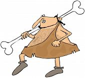 Caveman carrying a large bone
